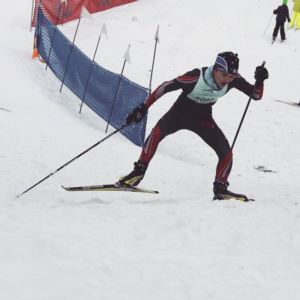 Saysetha powering up the hill at the Junior Loppet.